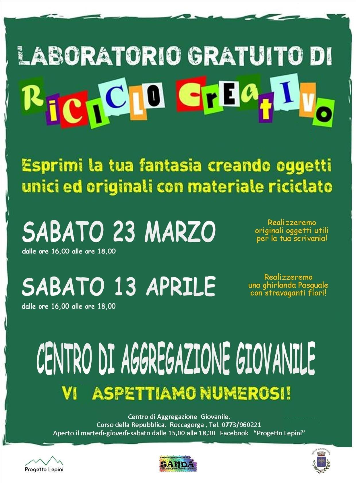 Roccagorga: Riciclo creativo @ Centro di aggregazione giovanile | Roccagorga | Lazio | Italia