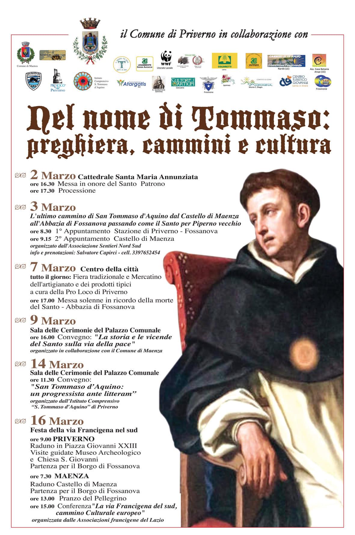 Priverno: Dal nome di Tommaso: preghiera, cammini e cultura @ centro della città | Priverno | Lazio | Italia