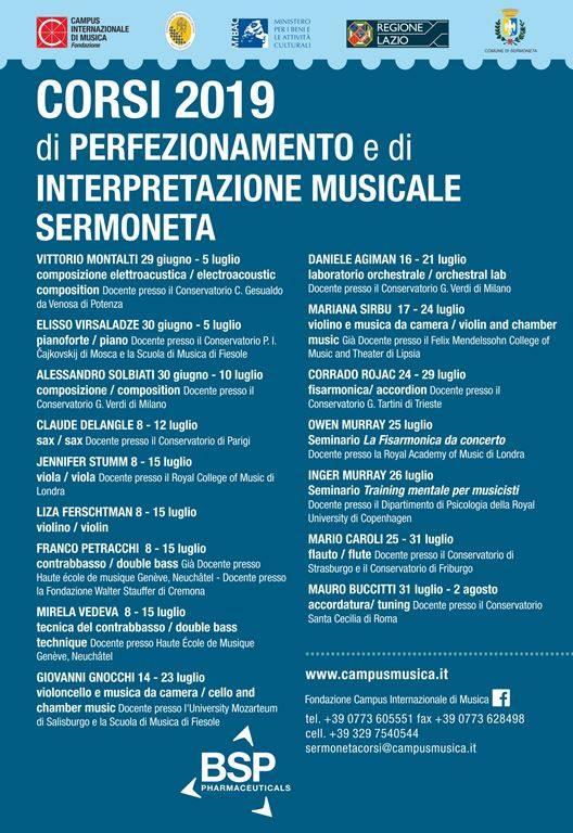 Sermoneta: Corsi 2019 di perfezionamento e di interpretazione musicale @ Fondazione Campus Internazionale di Musica  | Sermoneta | Lazio | Italia