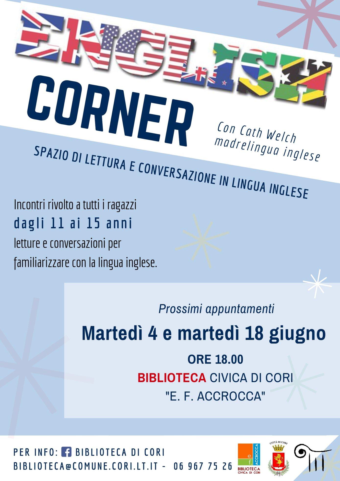 Cori: English Corner @ biblioteca civica | Cori | Lazio | Italia
