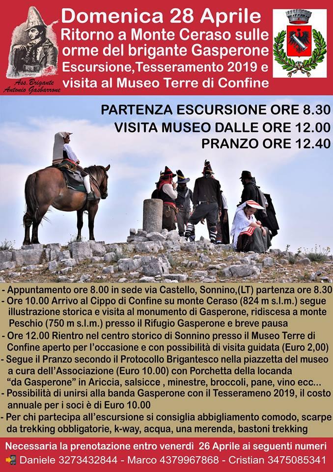 Sonnino: Ritorno a Monte Ceraso sulle orme del brigante Gasperone