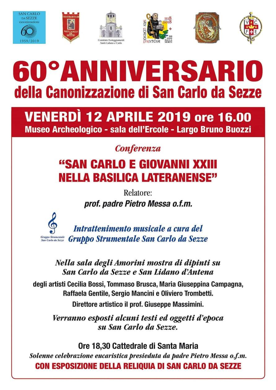 Sezze: 60° Anniversario della Canonizzazione di San Carlo da Sezze @ Museo archeologico | Sezze | Lazio | Italia