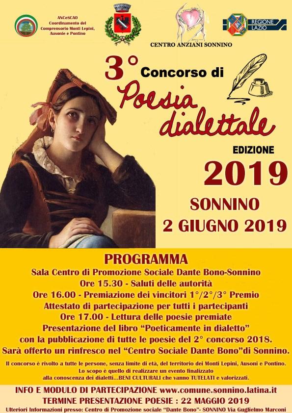 Sonnino: 3° Concorso di poesia dialettale @ Sala centro di promozione sociale Dante Bono-Sonnino | Sonnino | Lazio | Italia