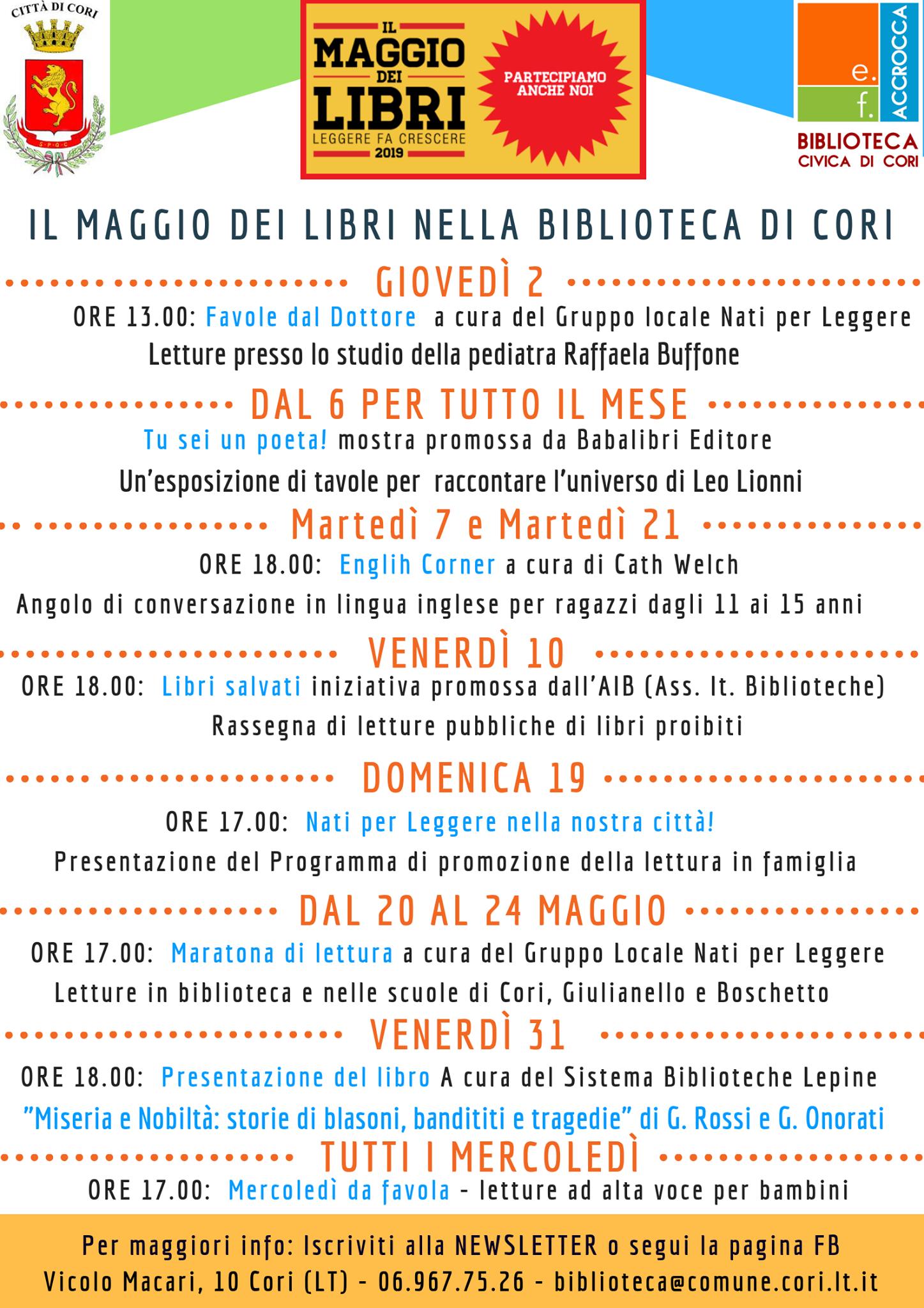 Cori: Il maggio dei libri nella biblioteca di Cori @ biblioteca civica  | Cori | Lazio | Italia