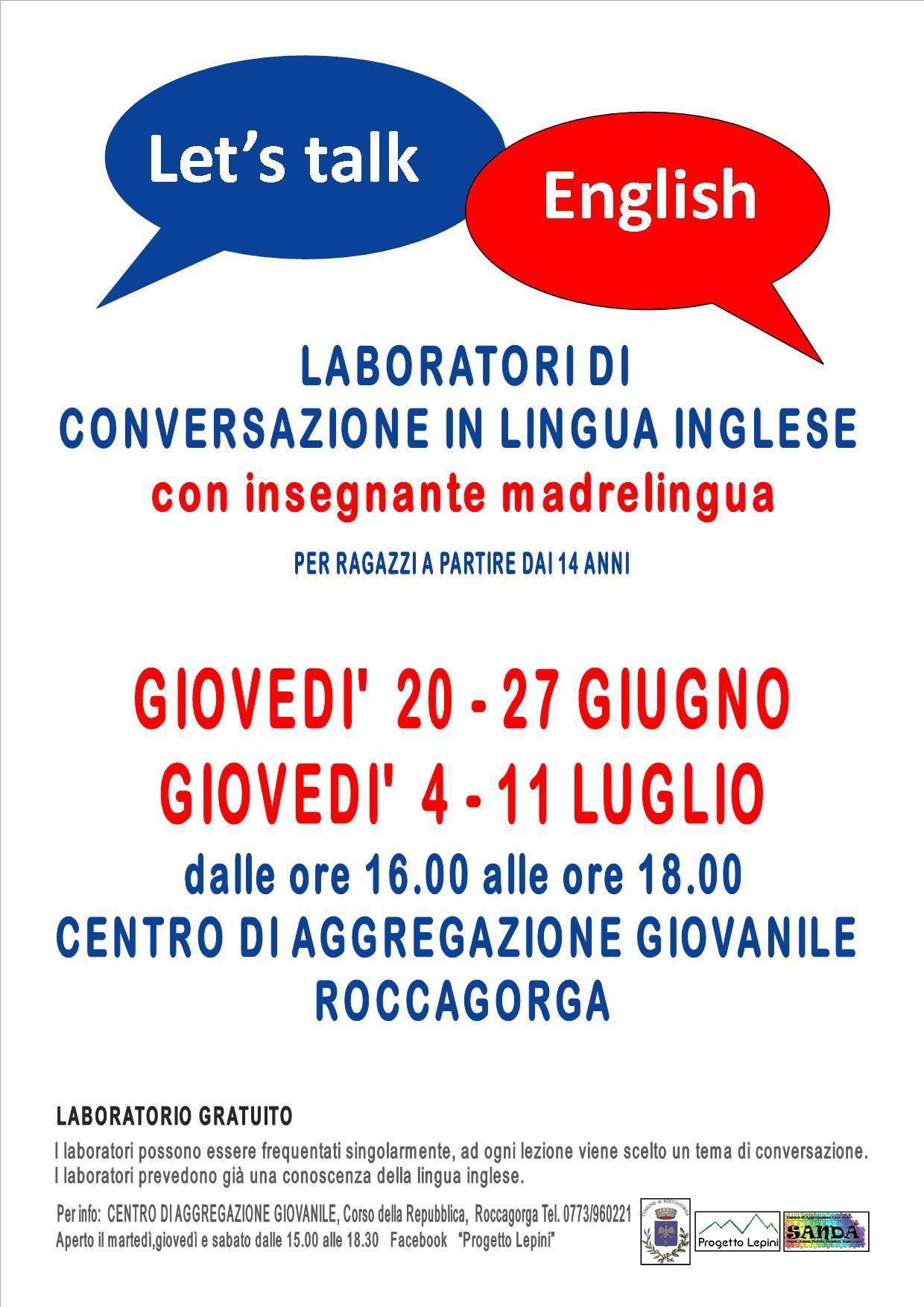 Roccagorga: Laboratori di conversazione in lingua inglese con insegnante madrelingua @ Centro di aggregazione giovanile  | Roccagorga | Lazio | Italia