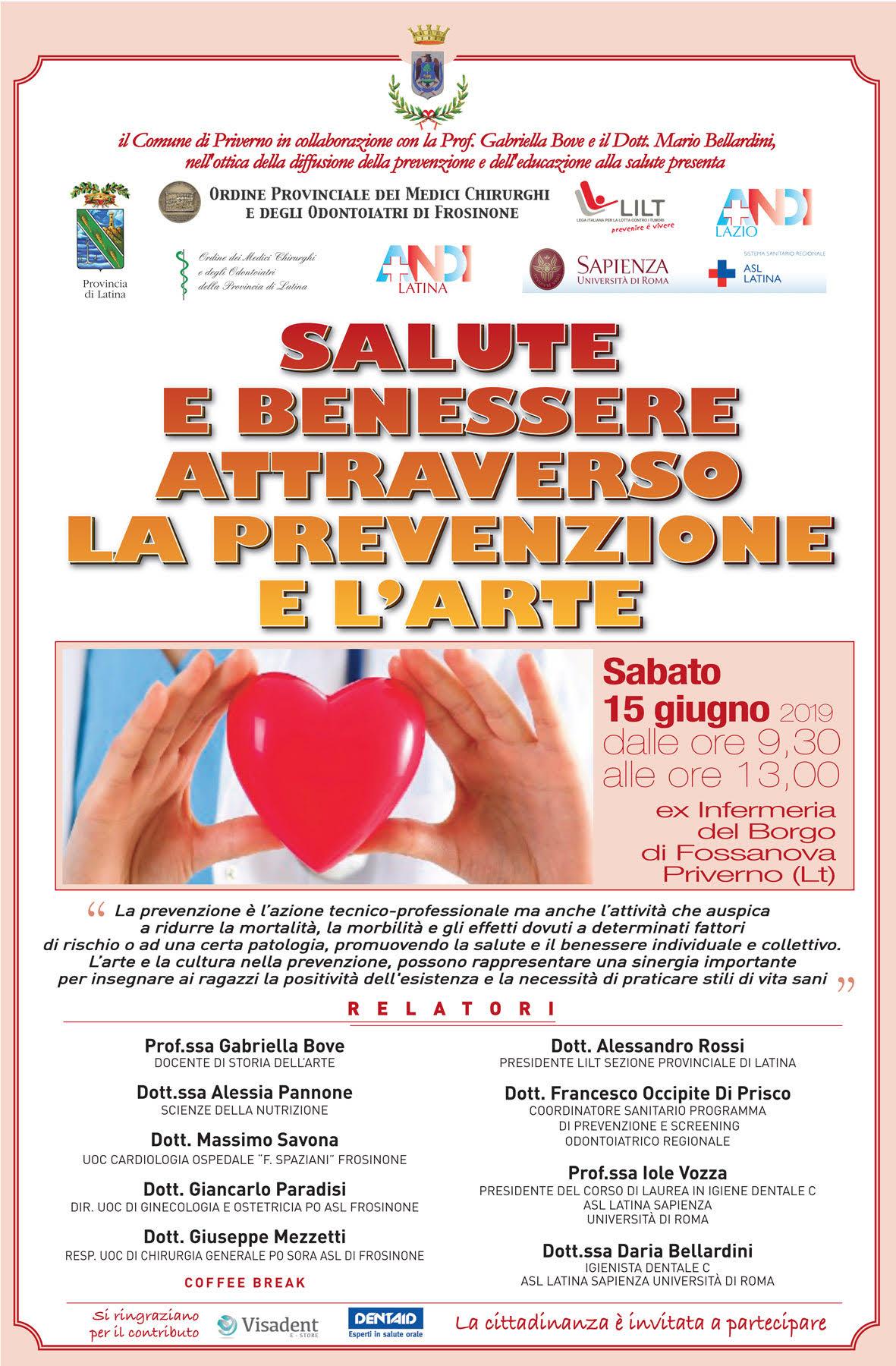 Priverno: Convegno SALUTE E BENESSERE ATTRAVERSO LA PREVENZIONE E L'ARTE @ ex infermeria del Borgo di Fossanova | Priverno | Lazio | Italia
