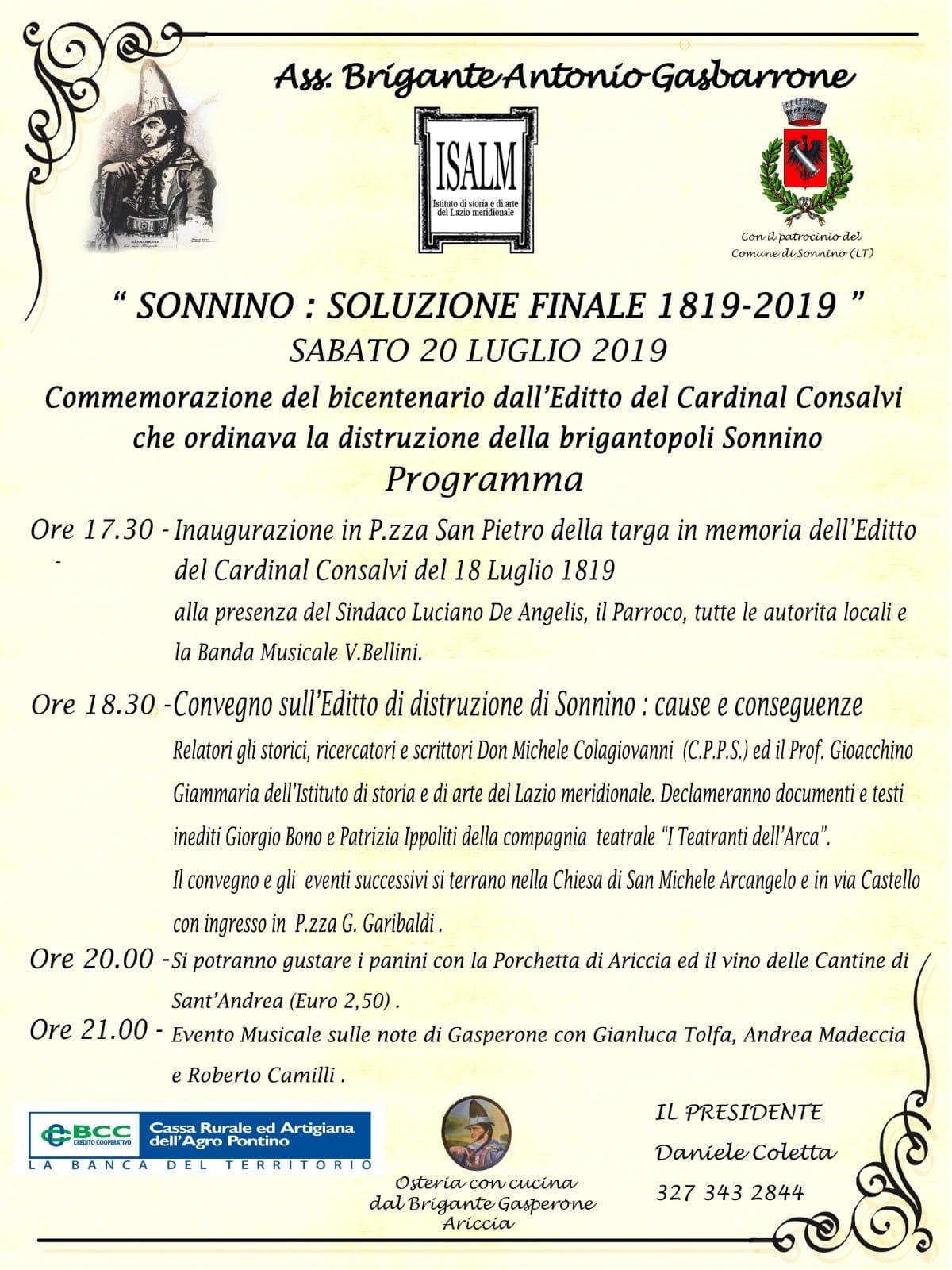Sonnino: Soluzione finale 1819-2019 @ Piazza San pietro | Sonnino | Lazio | Italia