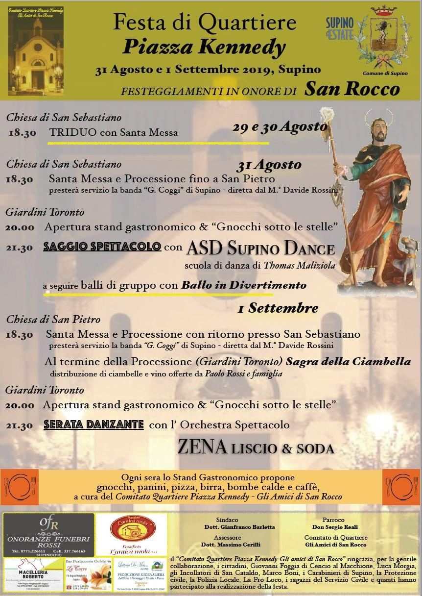 Supino: Festeggiamenti in onore di San Rocco e sagra della ciambella @ piazza Kennedy | Lazio | Italia