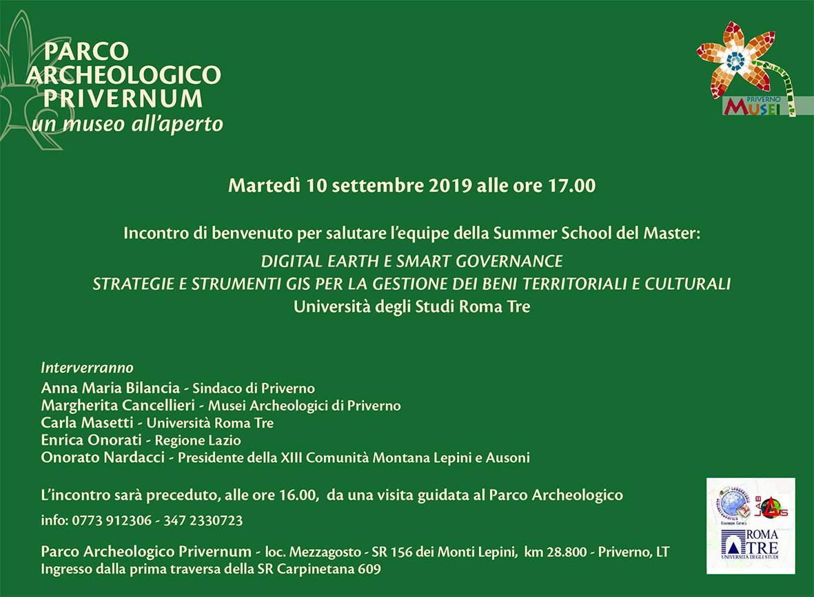 Priverno Digital Earth e Smart Governance. Strategie e strumenti GIS per la gestione dei Beni Territoriali e Culturali @ Parco archeologico Privernum | Priverno | Lazio | Italia