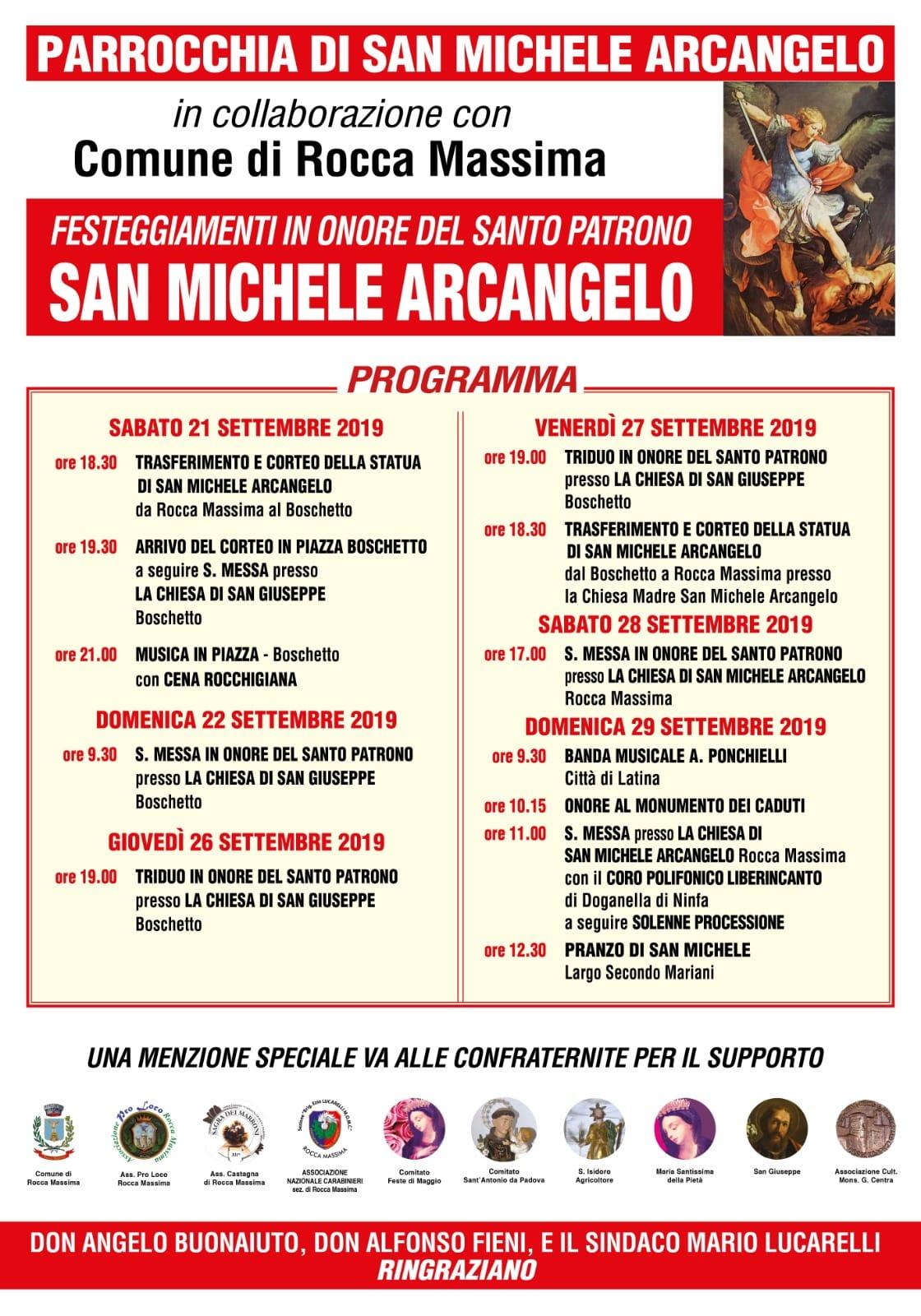 Rocca Massima: Festeggiamenti in onore del santo patrono San Michele Arcangelo @ centro storico | Rocca Massima | Lazio | Italia