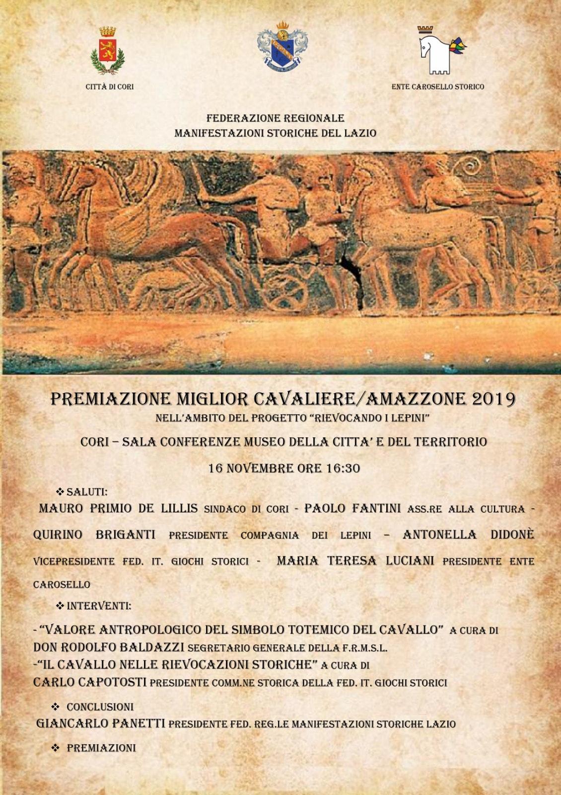 Cori: Premiazione miglior cavaliere/ amazzone 2019 @ Sala conferenze museo della città e del territorio  | Cori | Lazio | Italia