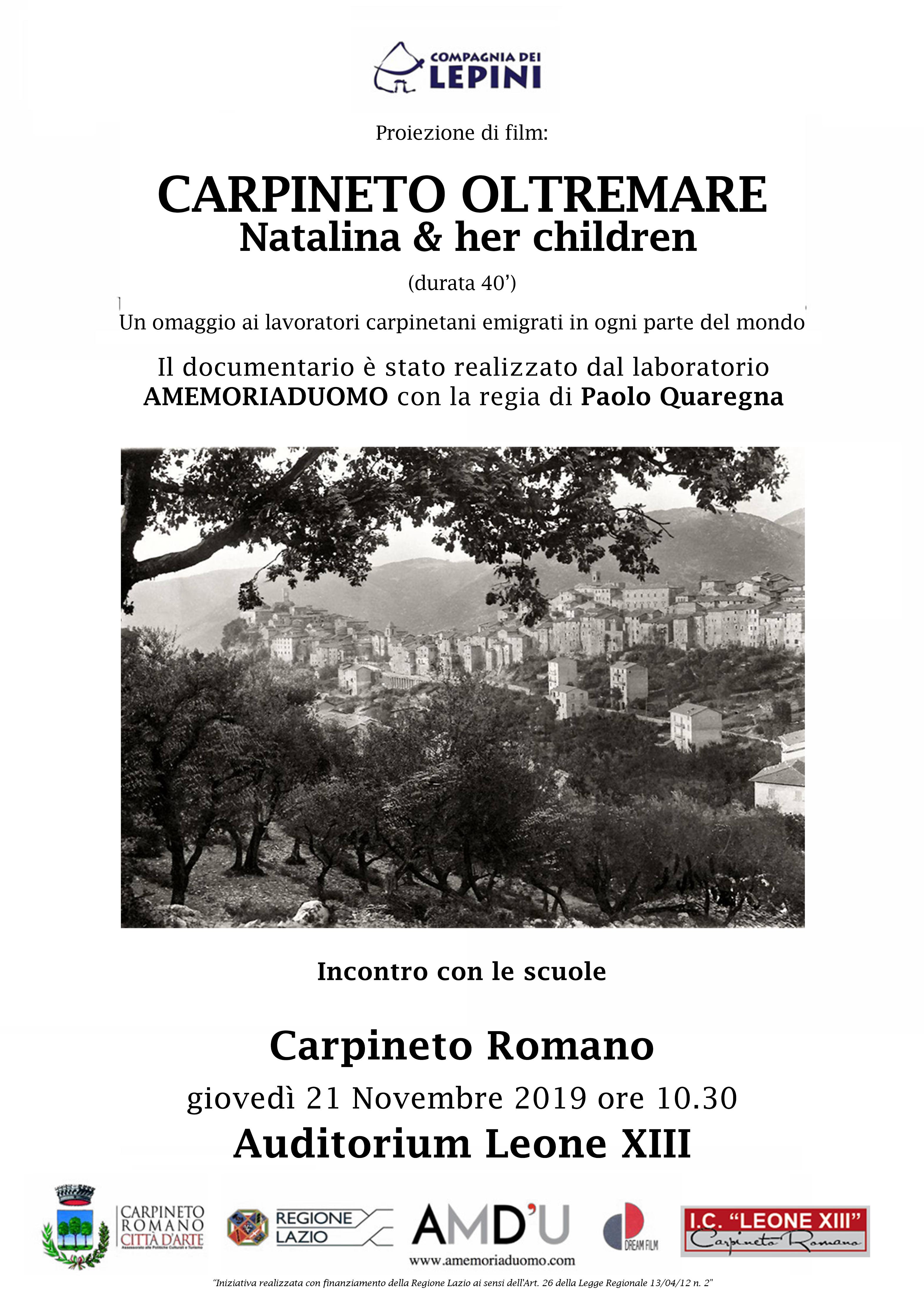 Carpineto Oltremare: Natalina & Her Children @ Auditorium Leone XIII   Carpineto Romano   Lazio   Italia