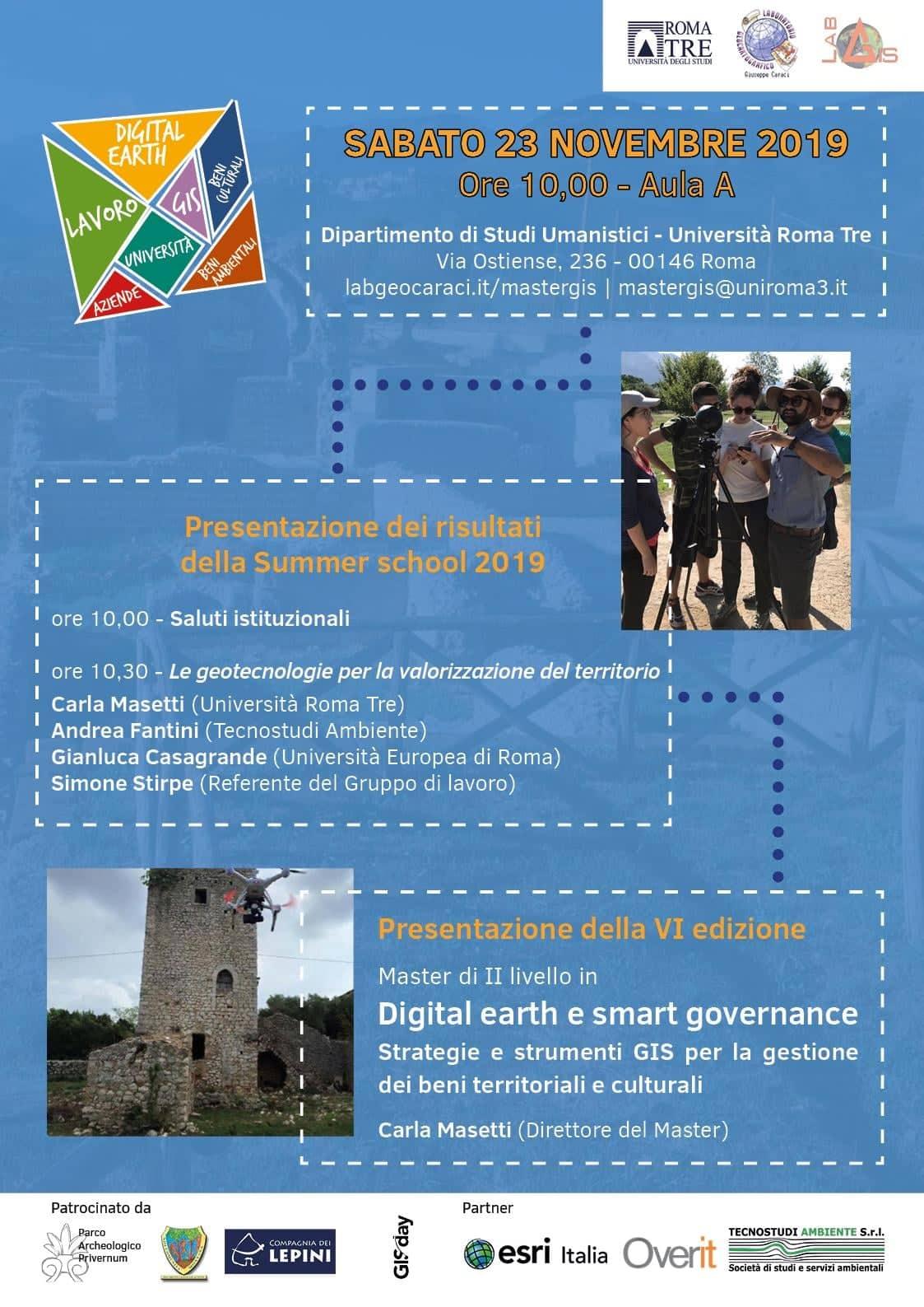 Roma: Presentazione della VI edizione del Digital Earth e smart governance e dei risultati della Summer school 2019 @ Università degli studi di Roma Tre- Dipartimento umanistico   Roma   Lazio   Italia