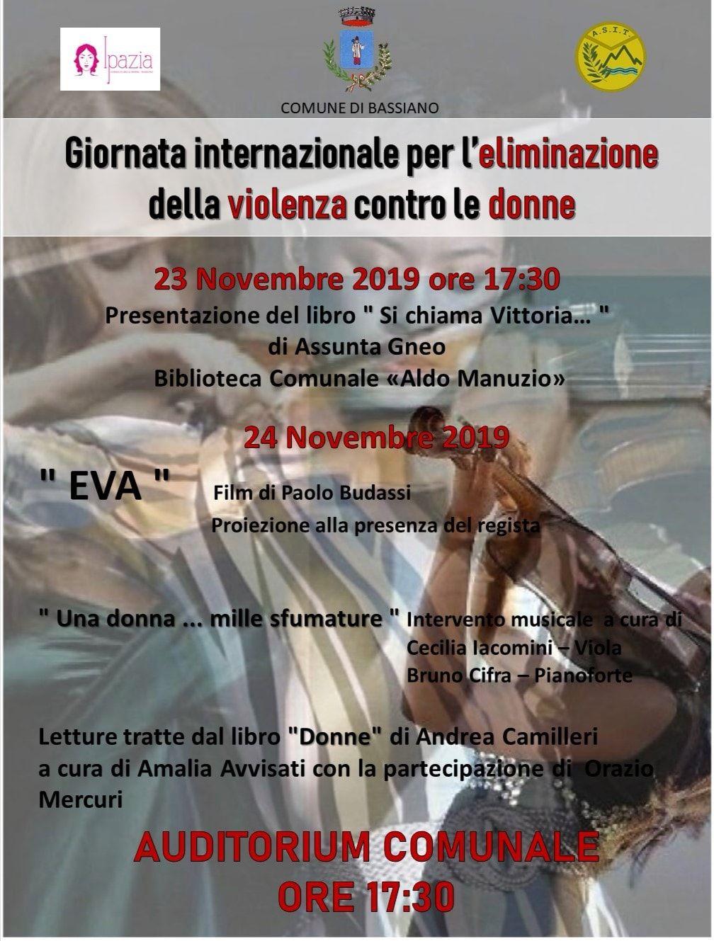 Bassiano: Giornata internazionale per l'eliminazione della violenza contro le donne @ Auditorium comunale   Bassiano   Lazio   Italia
