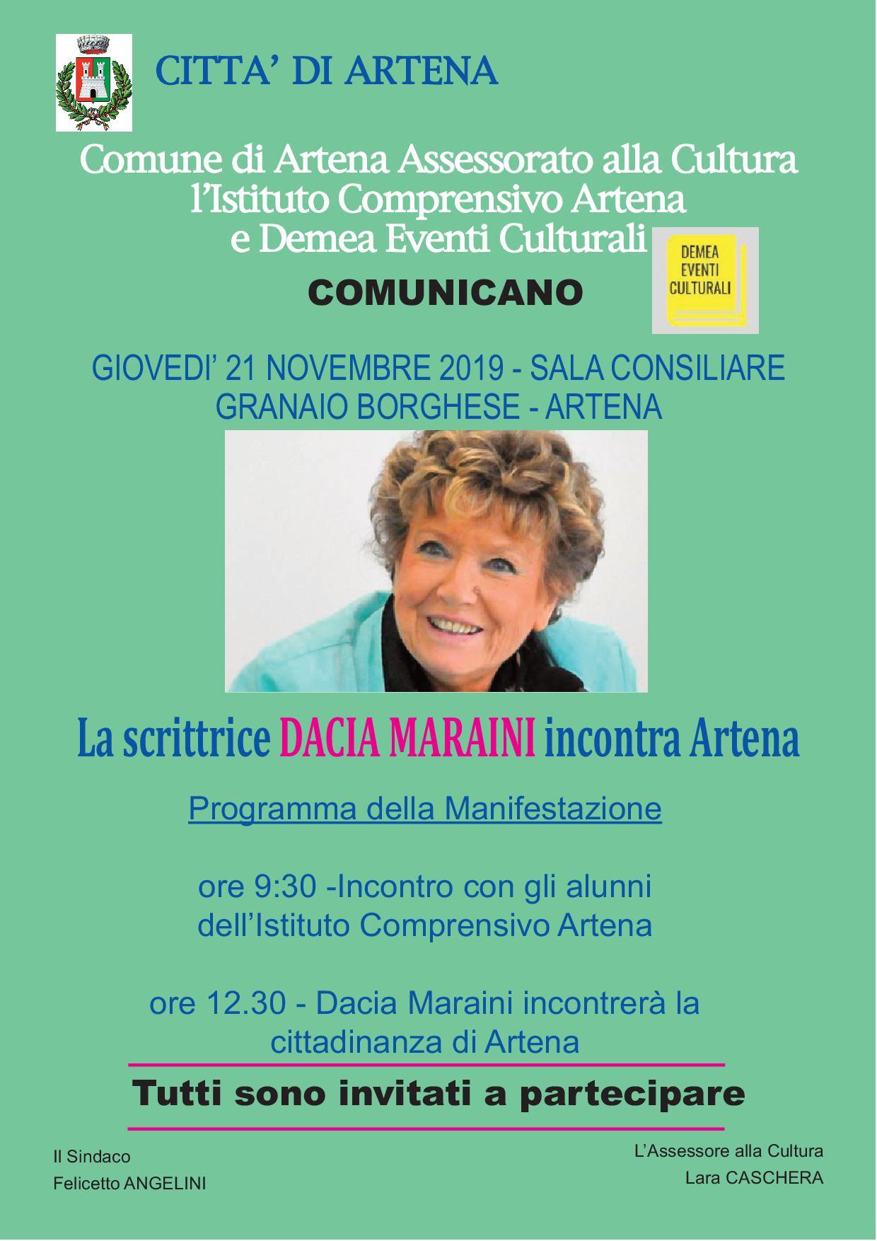 Artena: Incontro con la scrittrice Daria Maraini @ Sala consiliare - Granaio Borghese   Artena   Lazio   Italia