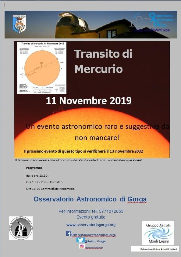 Gorga: Transito di Mercurio @ osservatorio astronomico | Gorga | Lazio | Italia