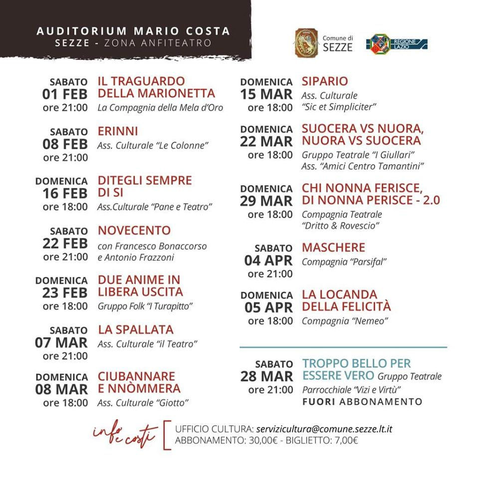 Sezze: Rassegna Teatrale 2020 @ Auditorium Mario Costa Sezze | Sezze | Lazio | Italia