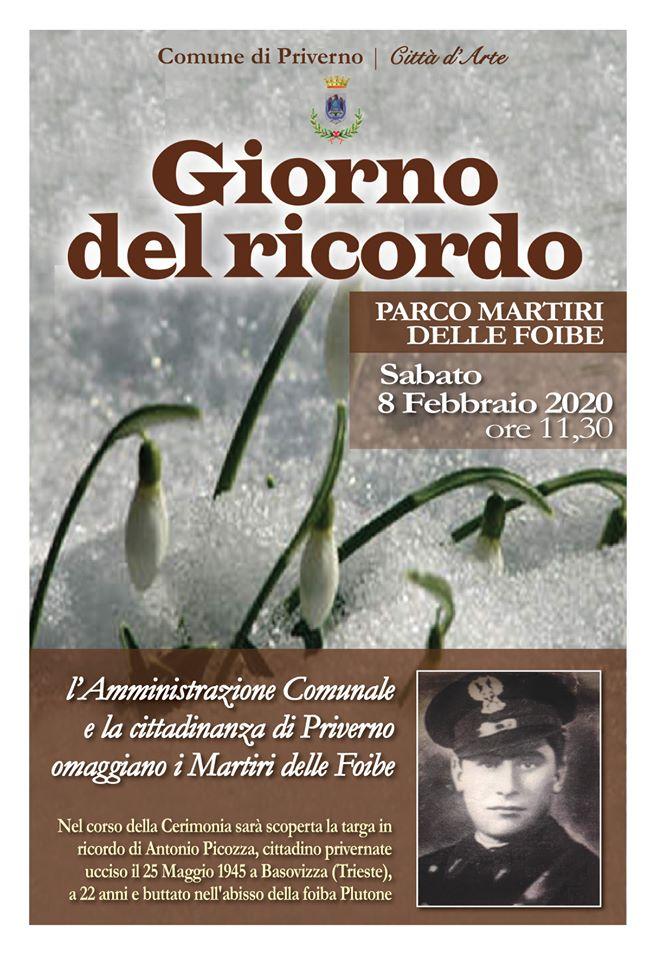 Priverno: Giorno del Ricordo @ Parco Martiri delle Foibe | Priverno | Lazio | Italia