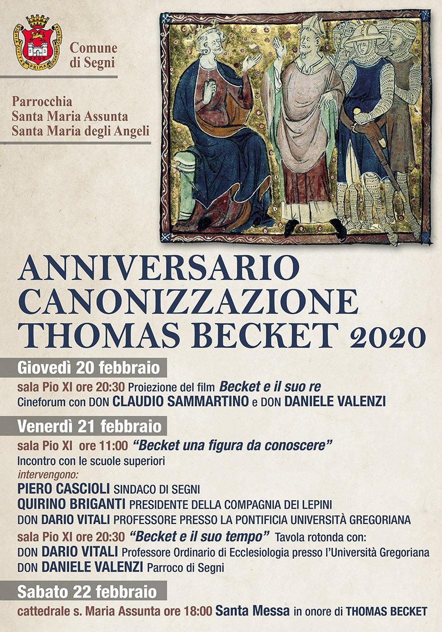 SEGNI: ANNIVERSARIO CANONIZZAZIONE THOMAS BECKET 2020 @ Lazio | Italia