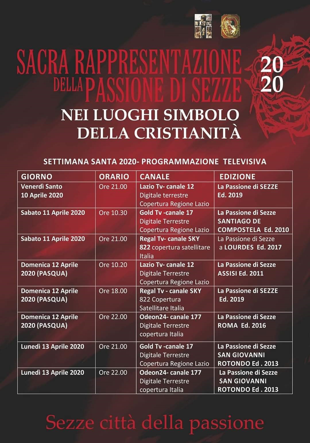 Sacra rappresentazione della passione di Sezze 2020 nei luoghi simbolo della cristianità @ Sezze