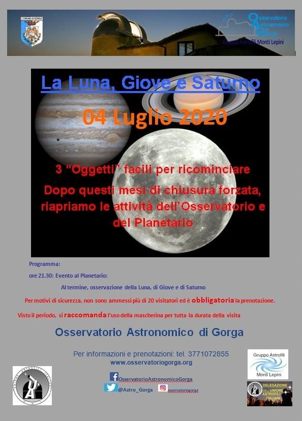 Gorga: la Luna, Giove e Saturno @ Osservatorio Astronomico di Gorga