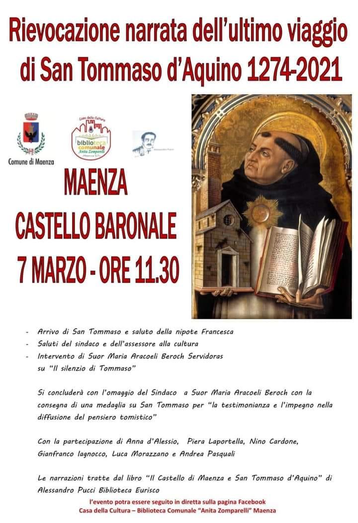 Maenza: Rievocazione narrata dell'ultimo viaggio di San Tommaso D'Aquino 1274 - 2021 @ Castello Baronale di Maenza