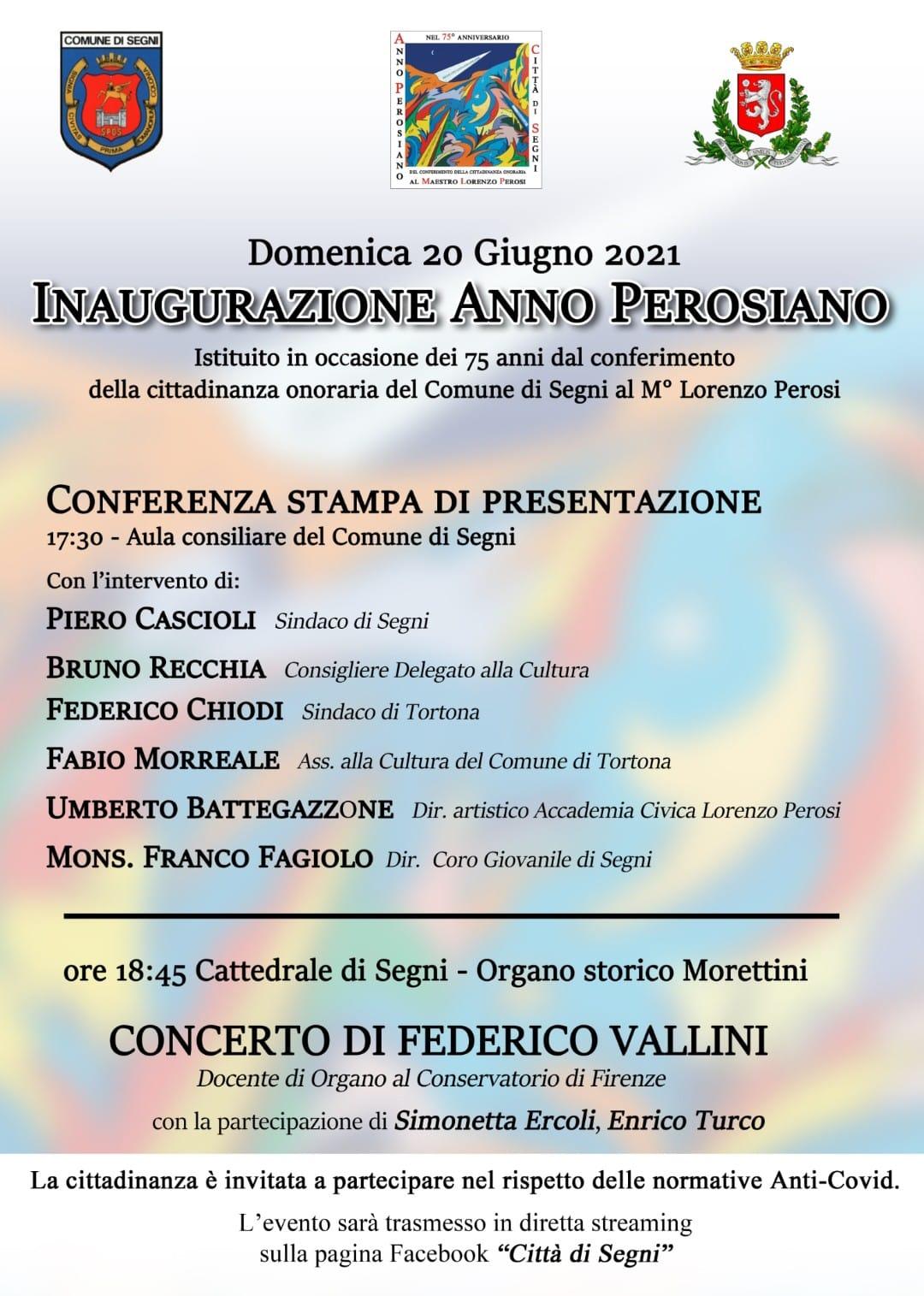 Segni: Inaugurazione Anno Perosiano @ Aula consiliare del Comune di Segni e Cattedrale di Segni