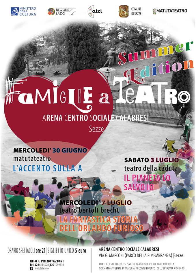 Sezze: FAMIGLIE A TEATRO - Summer Edition @ Centro Sociale U.Calabresi - Sezze