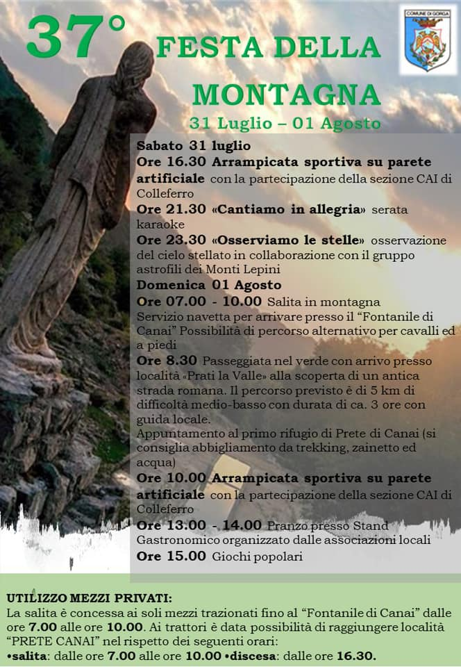 Gorga: 37° Festa della montagna 2021 @ Gorga