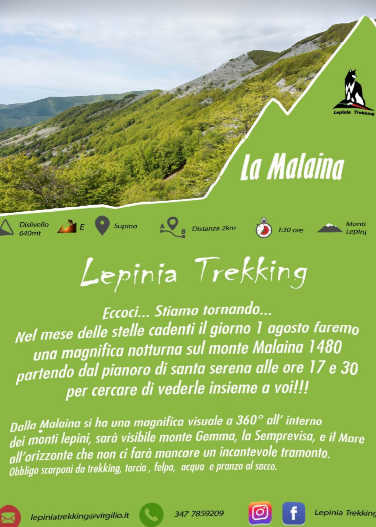 Lepinia Trekking: La Malaina @ pianoro di Santa Serena