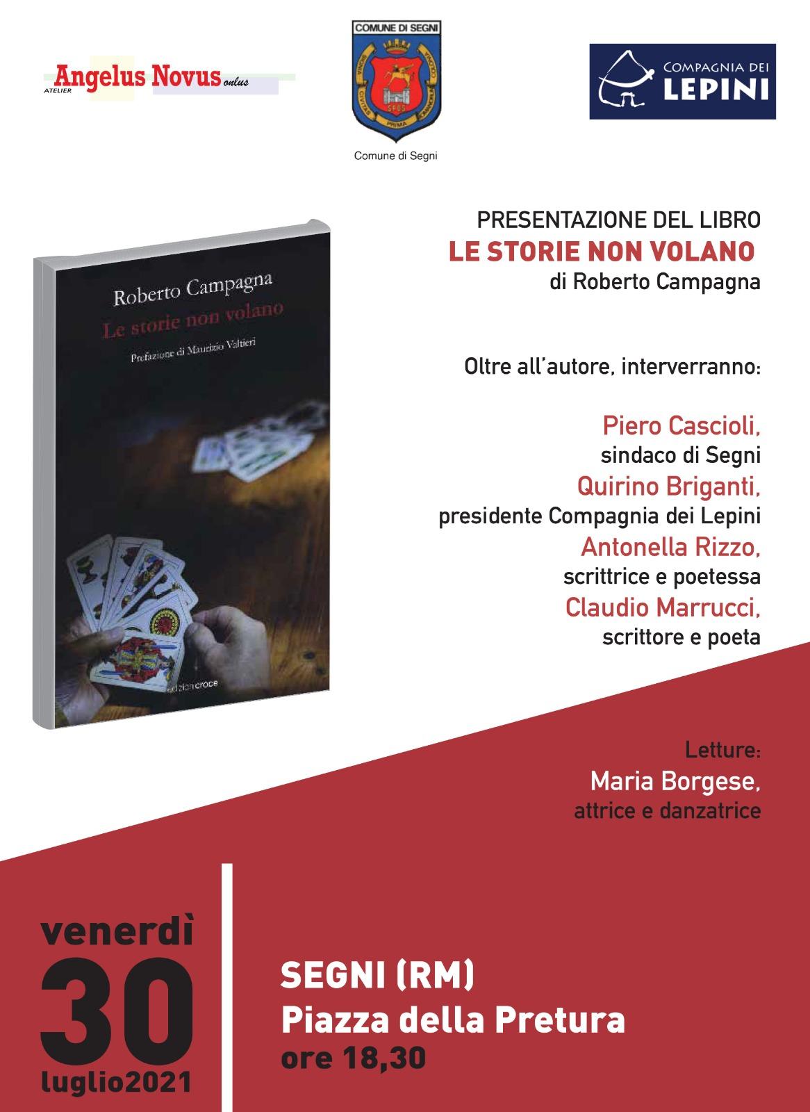 """Segni: Presentazione libro """"Le storie non volano"""" di Roberto Campagna @ Piazza della Pretura"""