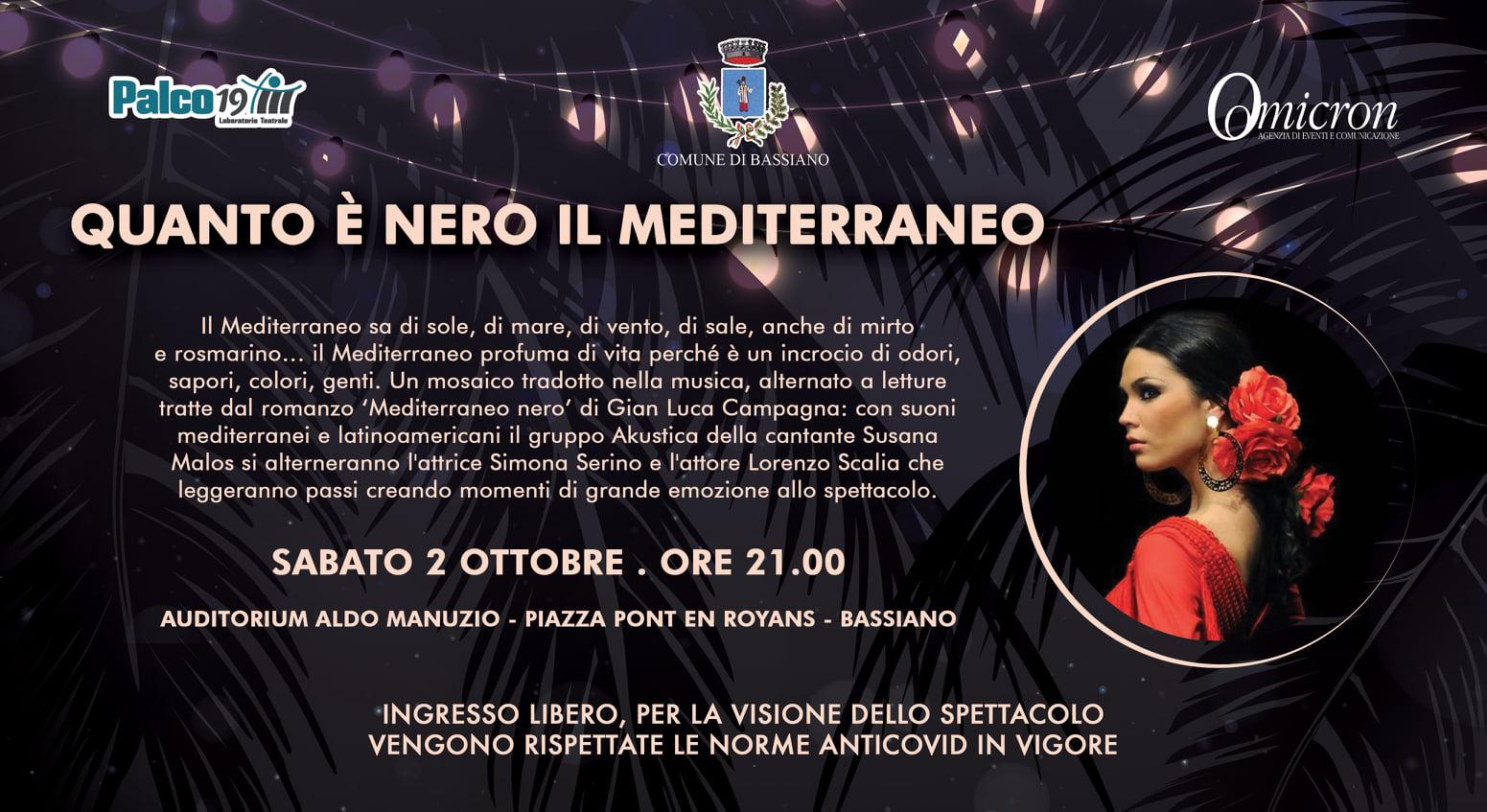 """Bassiano: """"Quanto è nero il Mediterraneo"""" @ Auditorium Aldo Manuzio - Piazza Pont en Royans"""