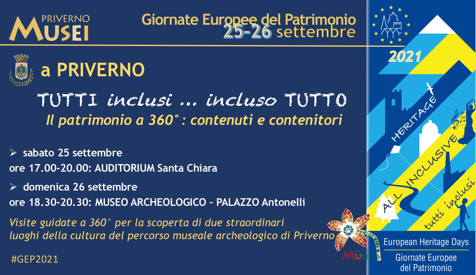 Priverno: Giornate Europee del Patrimonio 25 - 26 settembre @ Priverno