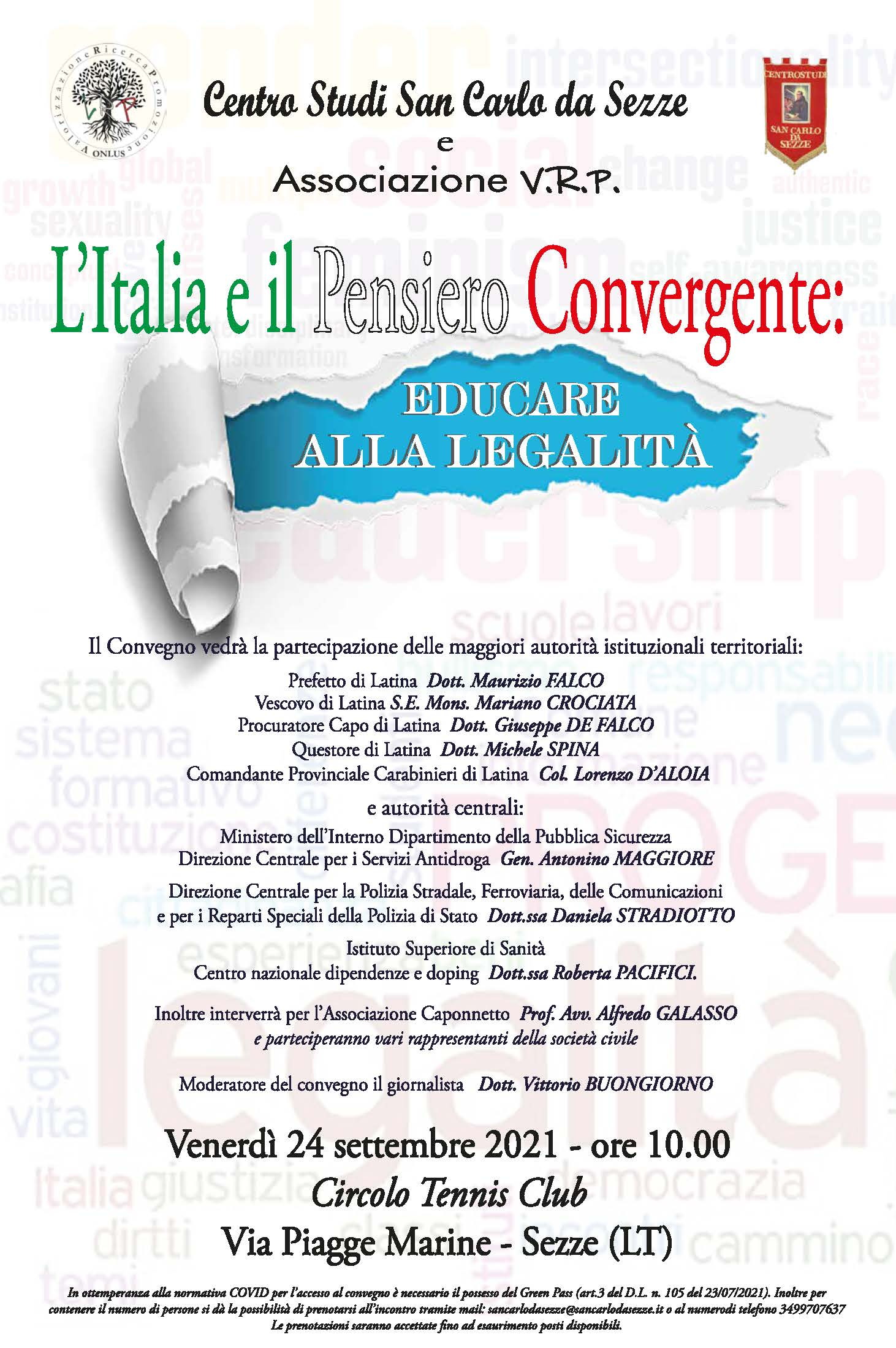 Sezze, l'Italia e il pensiero convergente: educare alla legalità @ Circolo Tennis Club