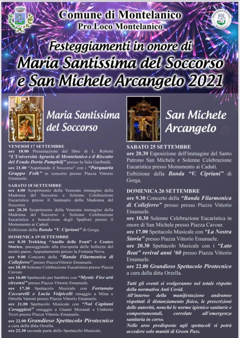 Montelanico: Festeggiamenti in onore di Maria Santissima del Soccorso e San Michele Arcangelo 2021 @ Montelanico