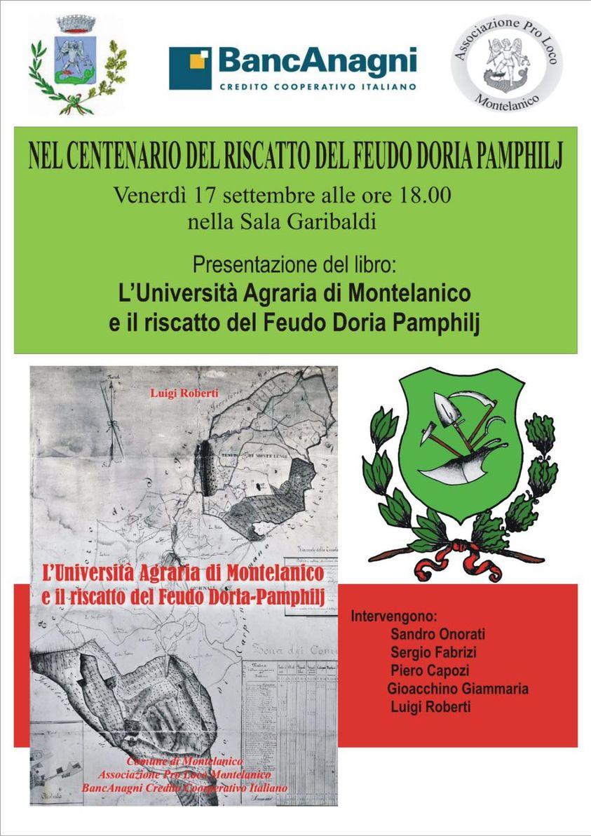 """Montelanico: presentazione del libro """"L'Università Agraria di Montelanico e il riscatto del Feudo Doria Pamphilj"""" @ Montelanico"""