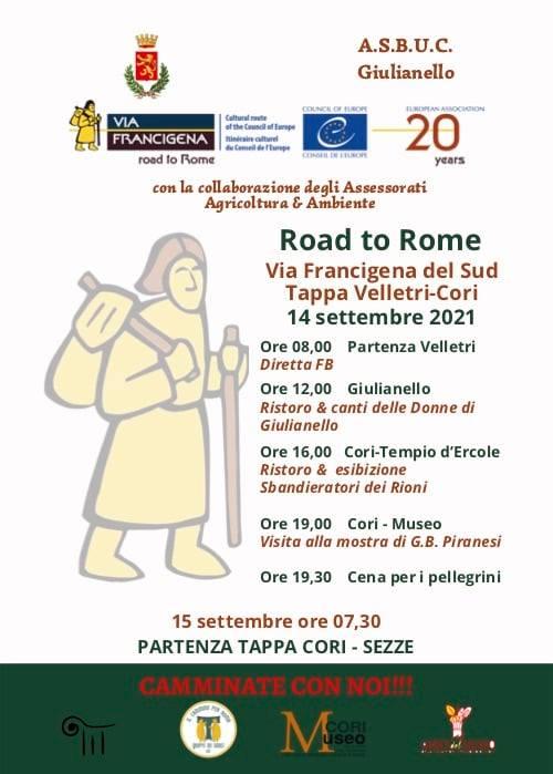 Cori: Road to Rome sulla via Francigena del Sud 2021 @ Velletri