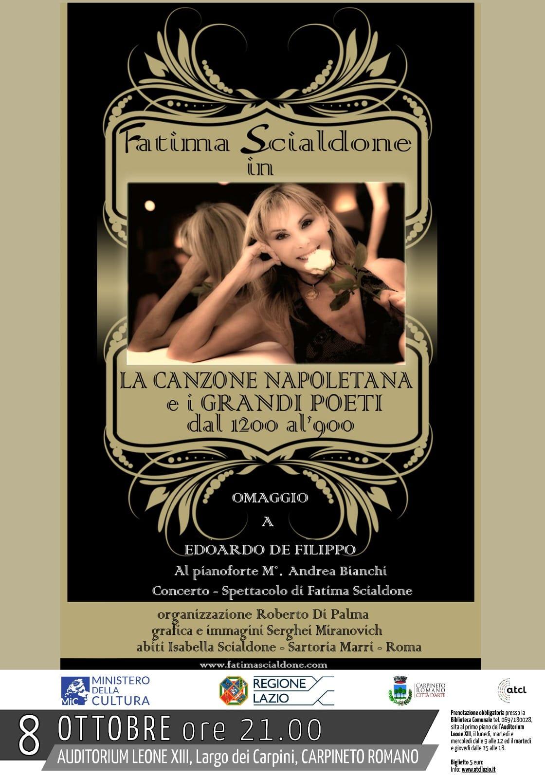 """Carpineto: Fatima Scialdone in """"La canzone Napoletana e i Grandi Poeti dal 1200 al '900"""" @ Auditorium Leone XIII"""