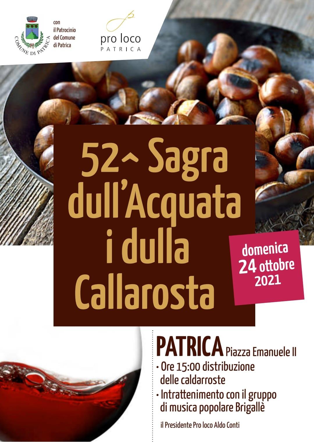 Patrica: 52°Sagra dull'Acquata i dulla Callarosta @ Patrica
